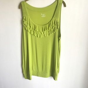 Lane Bryant Lime Green Front Ruffled Top Size 22